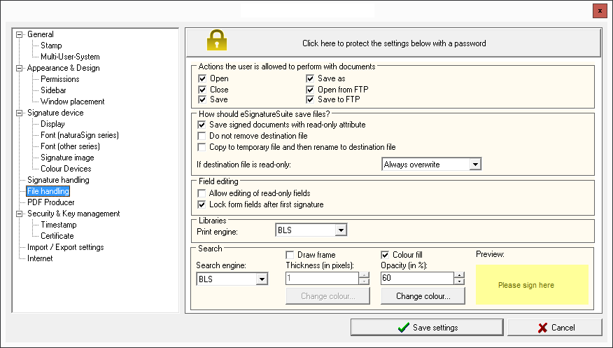 6  The eSignatureSuite administration menu: settings and